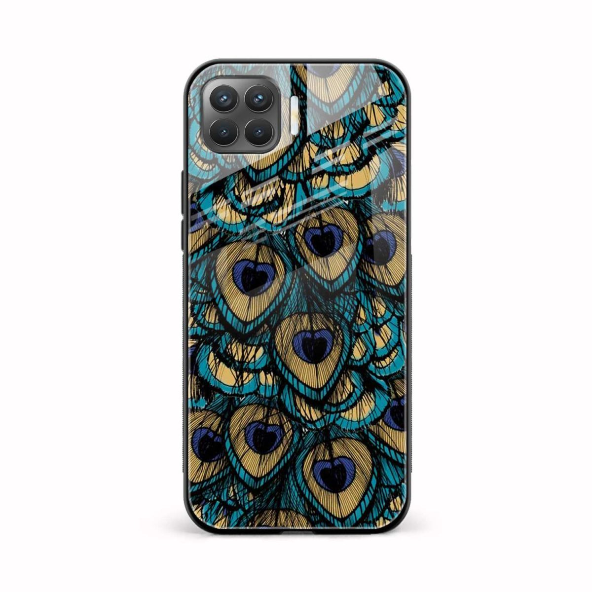 peacock feather front view oppo f17 pro back cover