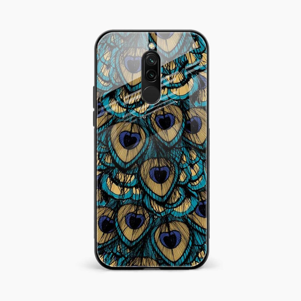 peacock feather front view redmi 8 back cover