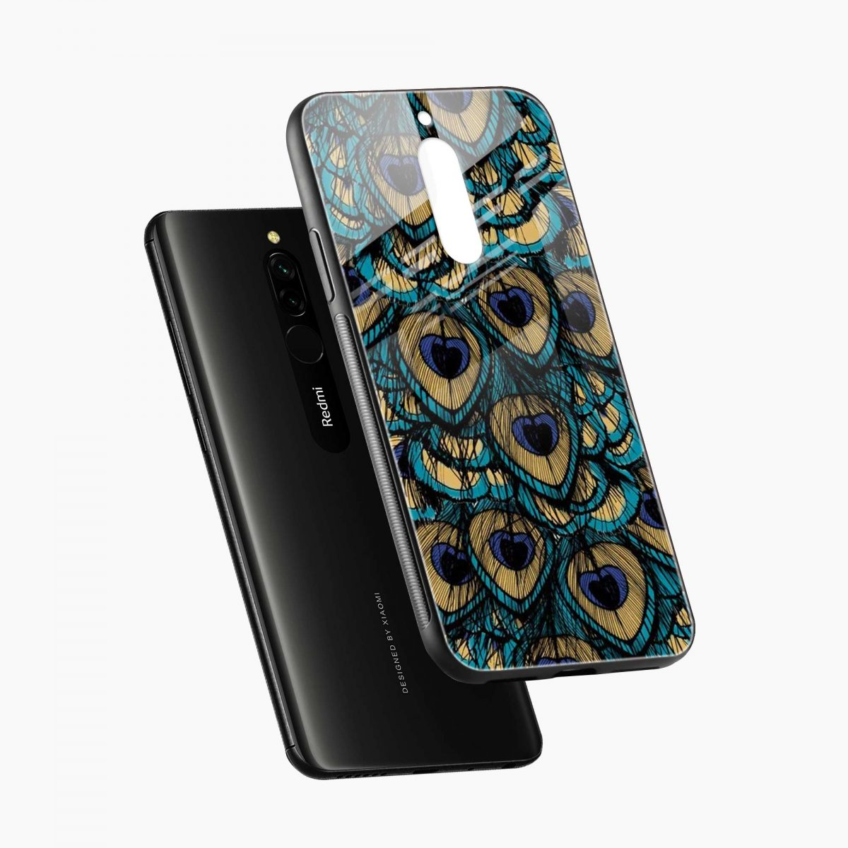 peacock feather diagonal view redmi 8 back cover