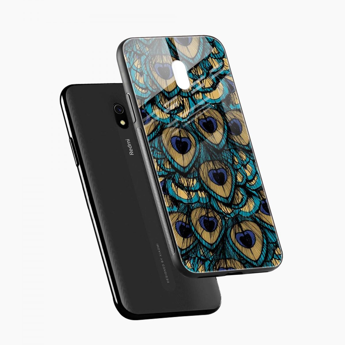 peacock feather diagonal view redmi 8a back cover