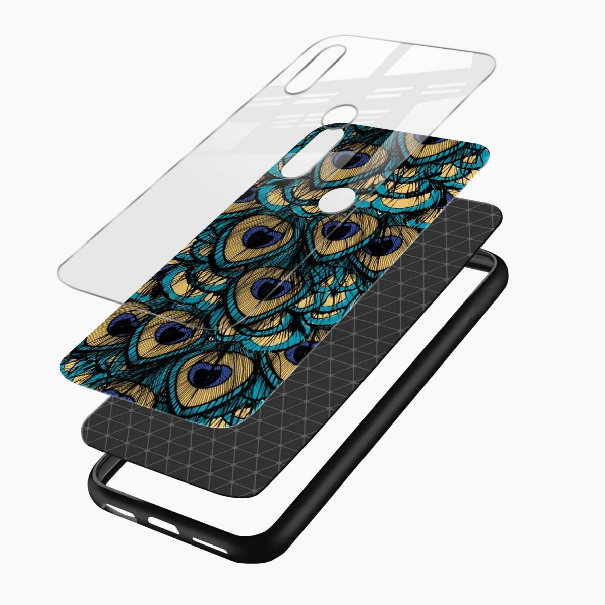peacock feather redmi note 5 pro back cover layers view