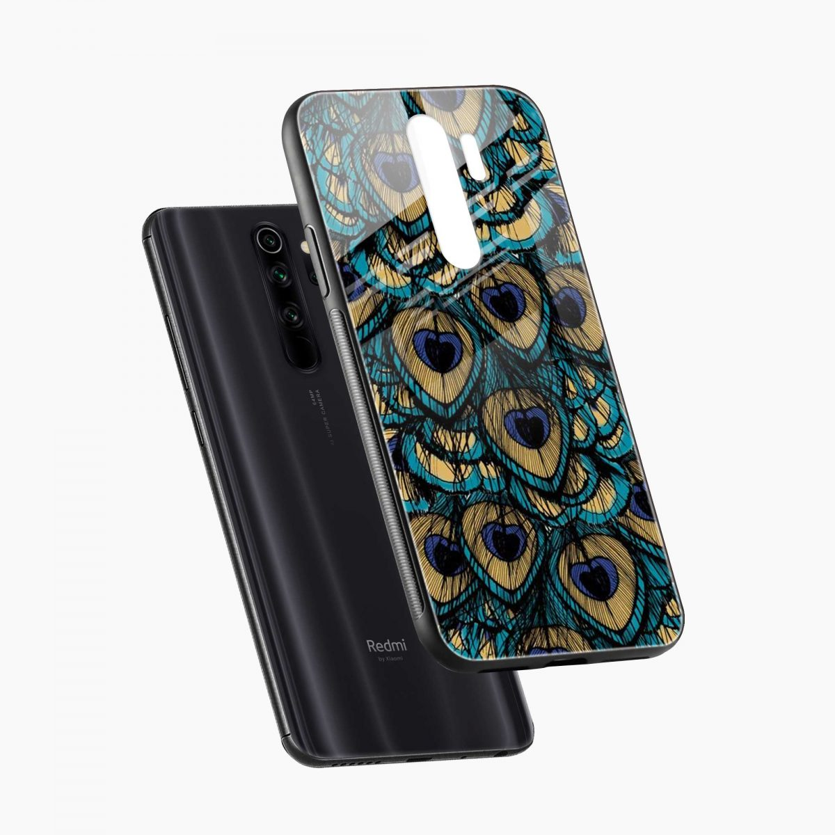 peacock feather diagonal view redmi note 8 pro back cover