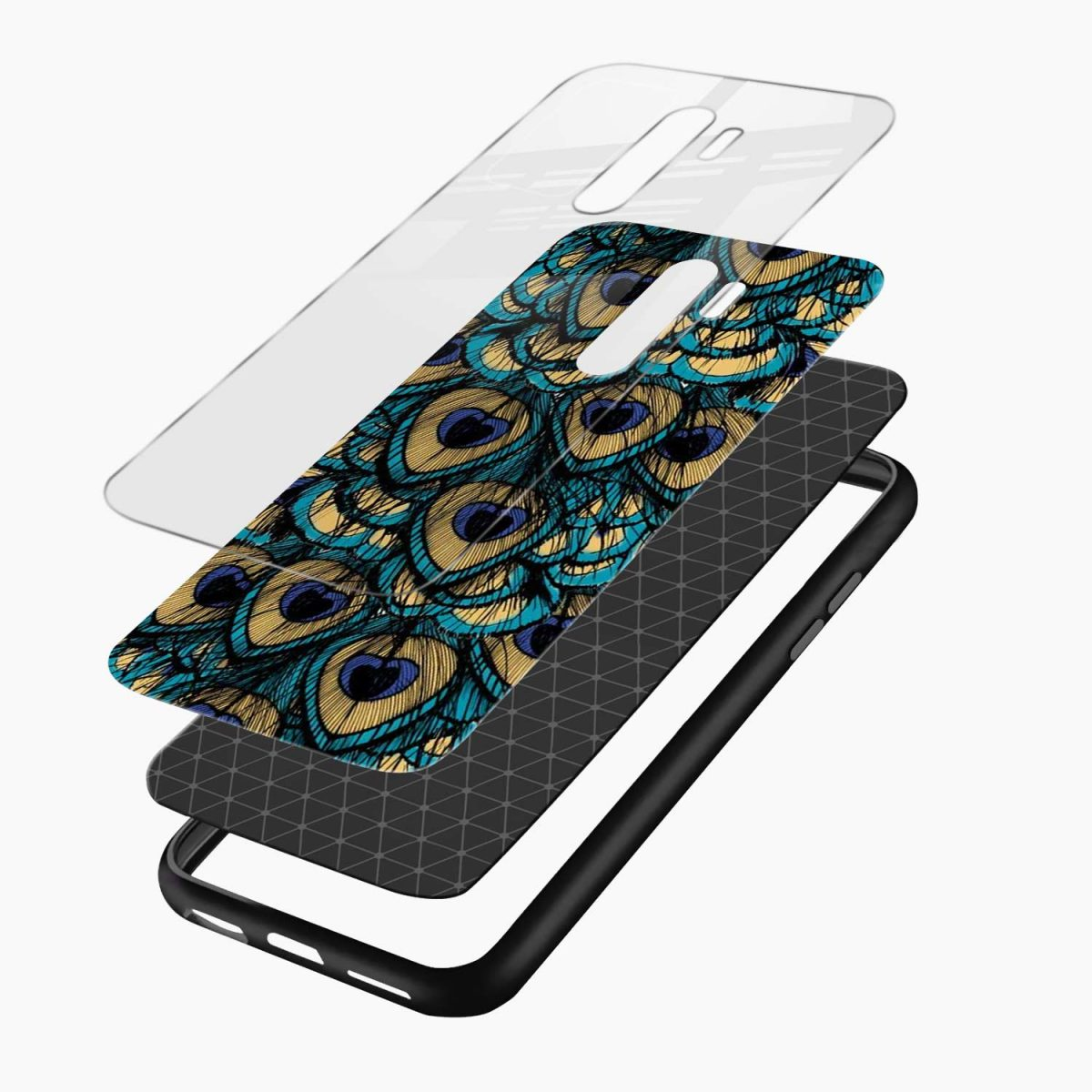 peacock feather redmi note 8 pro back cover layers view