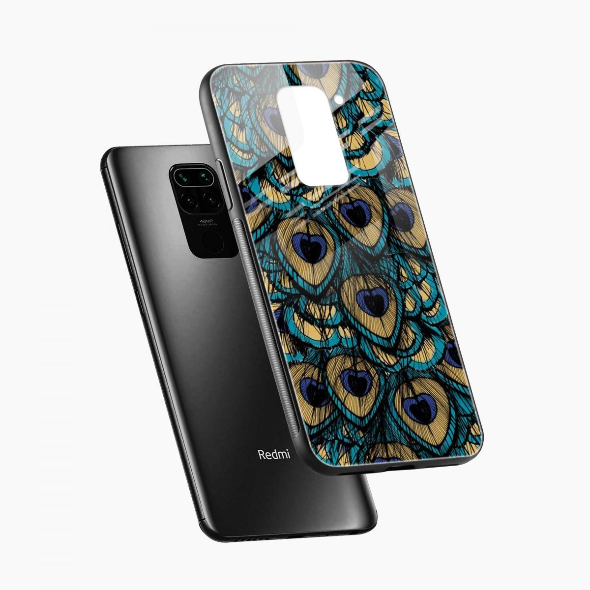 peacock feather diagonal view redmi note 9 back cover