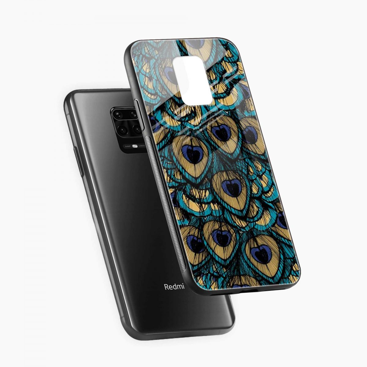 peacock feather diagonal view redmi note9 back cover