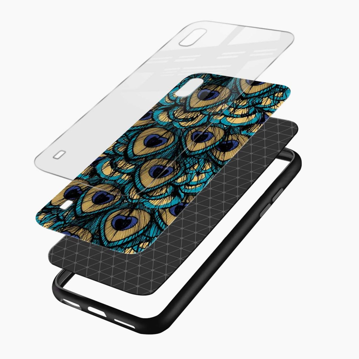 peacock feather layers view samsung galaxy a10 back cover