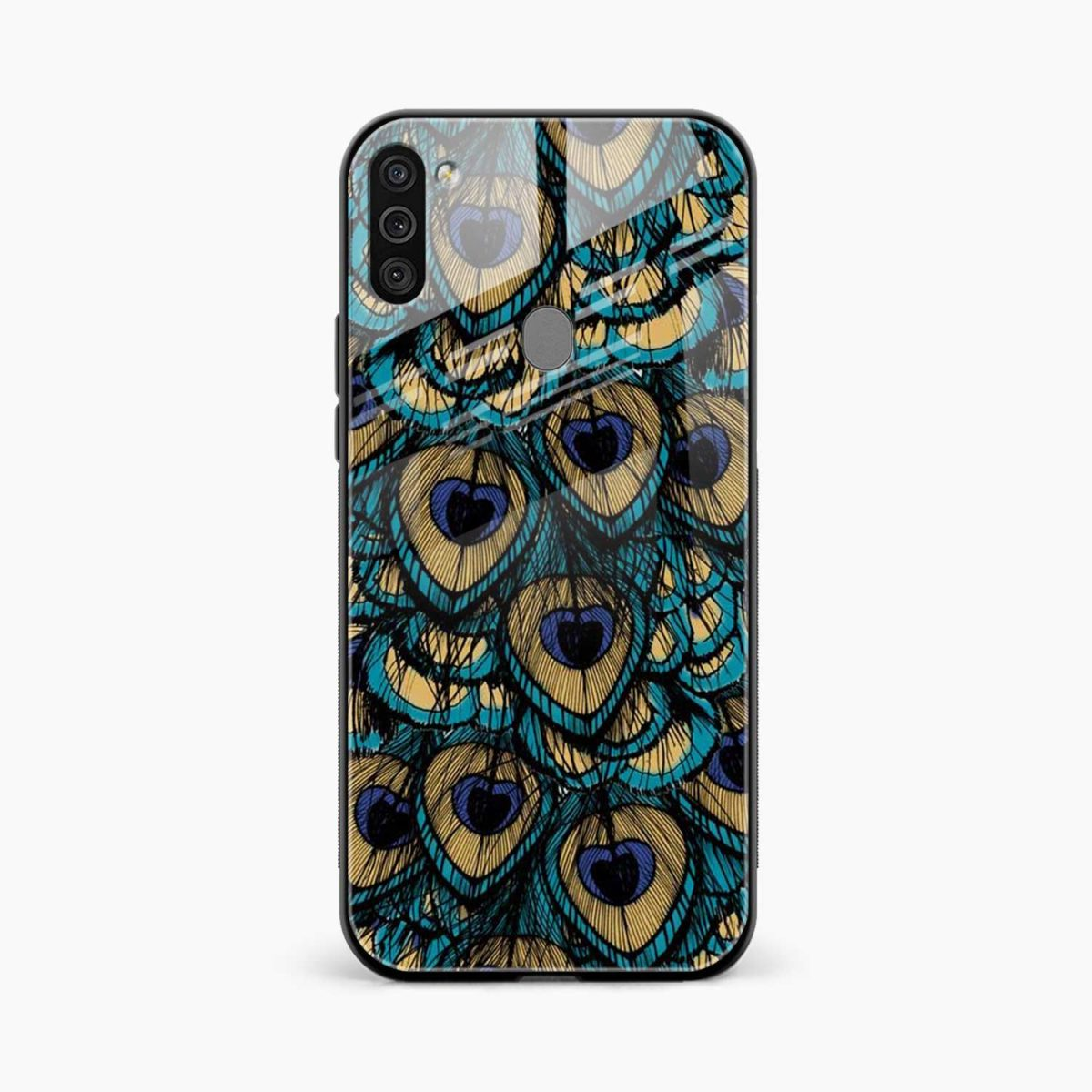 peacock feather front view samsung galaxy m11 back cover
